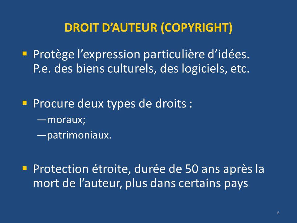 6 DROIT DAUTEUR (COPYRIGHT) Protège lexpression particulière didées.