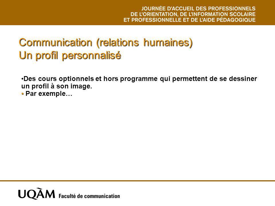 Communication (relations humaines) Un profil personnalisé Des cours optionnels et hors programme qui permettent de se dessiner un profil à son image.