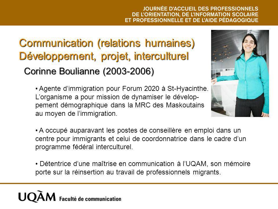 Communication (relations humaines) Développement, projet, interculturel Corinne Boulianne (2003-2006) Corinne Boulianne (2003-2006) Agente dimmigratio