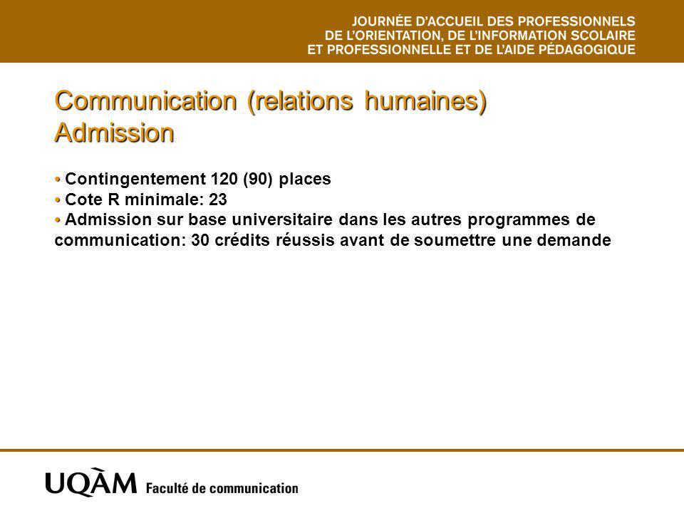 Communication (relations humaines) Admission Contingentement 120 (90) places Cote R minimale: 23 Admission sur base universitaire dans les autres prog