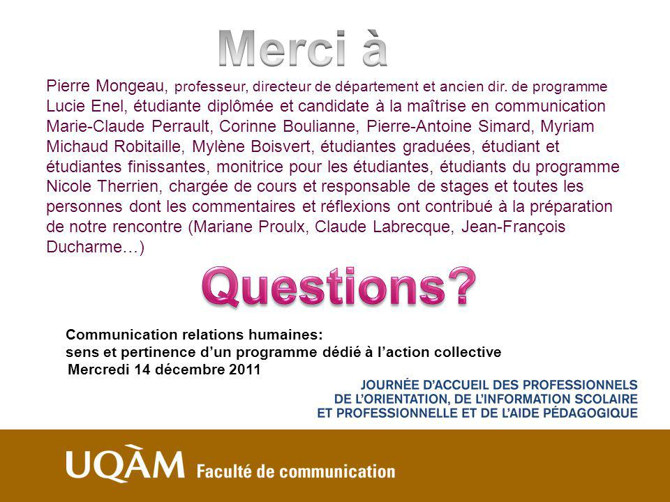 Communication relations humaines: sens et pertinence dun programme dédié à laction collective Mercredi 14 décembre 2011 Pierre Mongeau, professeur, di