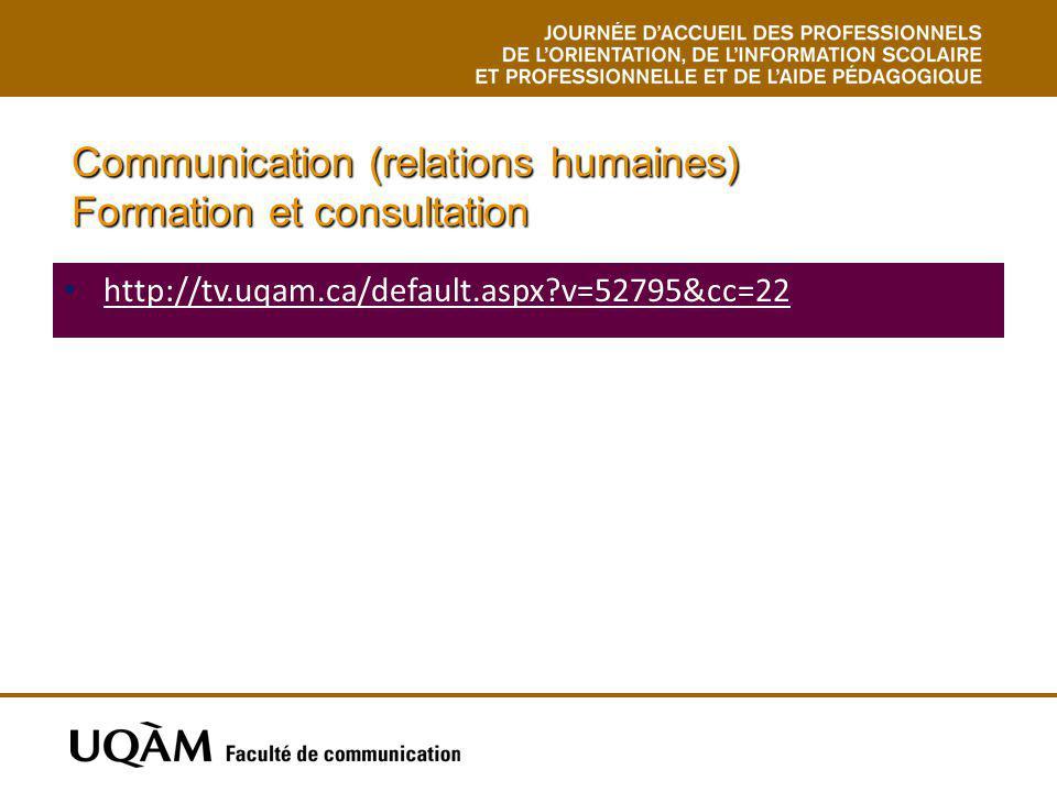 Communication (relations humaines) Formation et consultation http://tv.uqam.ca/default.aspx?v=52795&cc=22