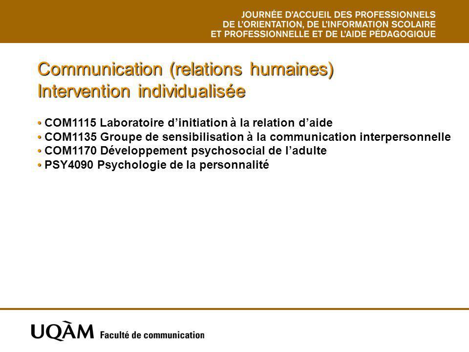 Communication (relations humaines) Intervention individualisée COM1115 Laboratoire dinitiation à la relation daide COM1135 Groupe de sensibilisation à