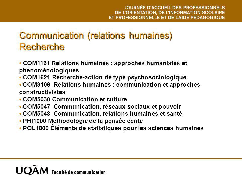 Communication (relations humaines) Recherche COM1161 Relations humaines : approches humanistes et phénoménologiques COM1621 Recherche-action de type p