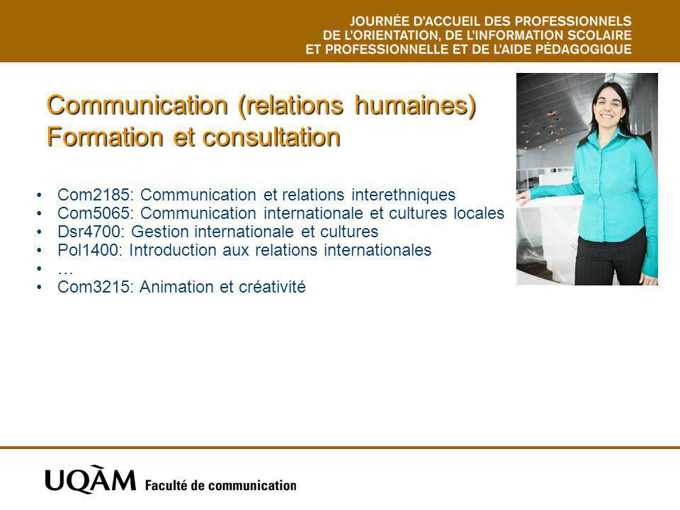 Communication (relations humaines) Formation et consultation Com2185: Communication et relations interethniques Com5065: Communication internationale