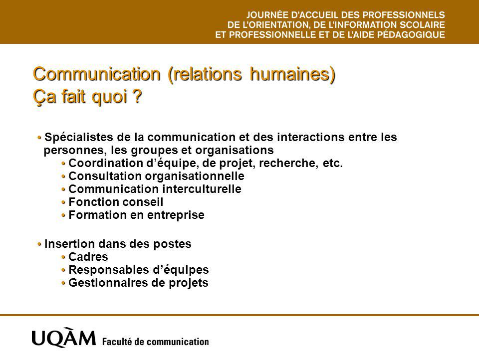 Communication (relations humaines) Intervention individualisée COM1115 Laboratoire dinitiation à la relation daide COM1135 Groupe de sensibilisation à la communication interpersonnelle COM1170 Développement psychosocial de ladulte PSY4090 Psychologie de la personnalité