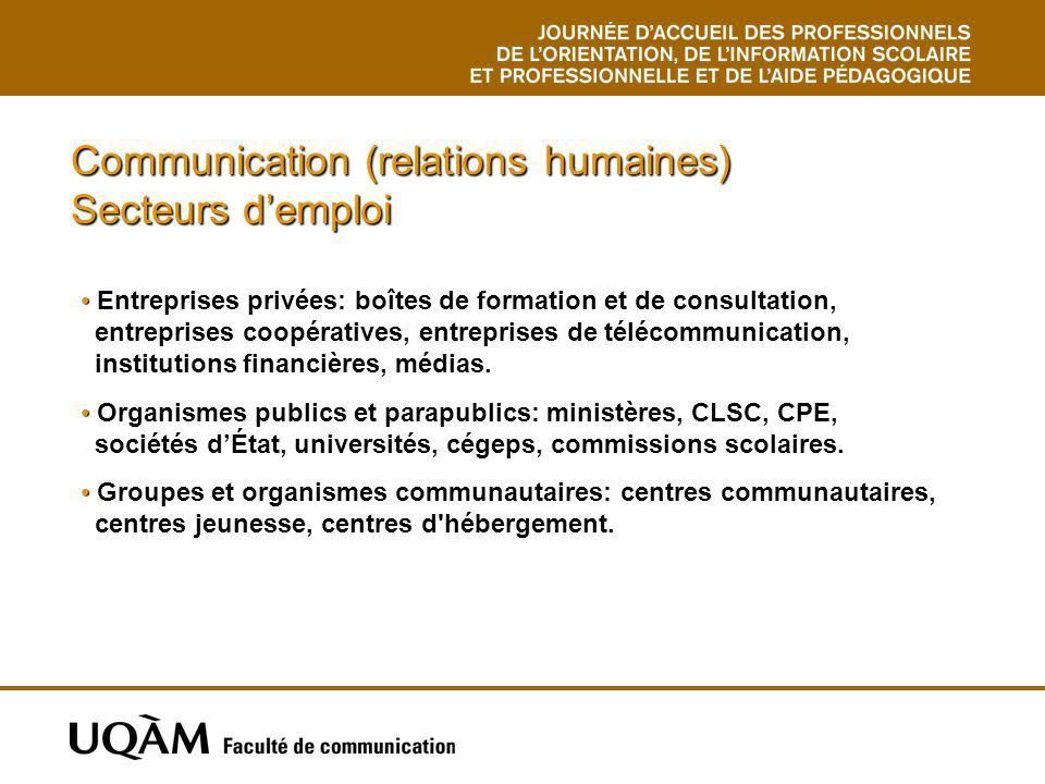 Communication (relations humaines) Secteurs demploi Entreprises privées: boîtes de formation et de consultation, entreprises coopératives, entreprises