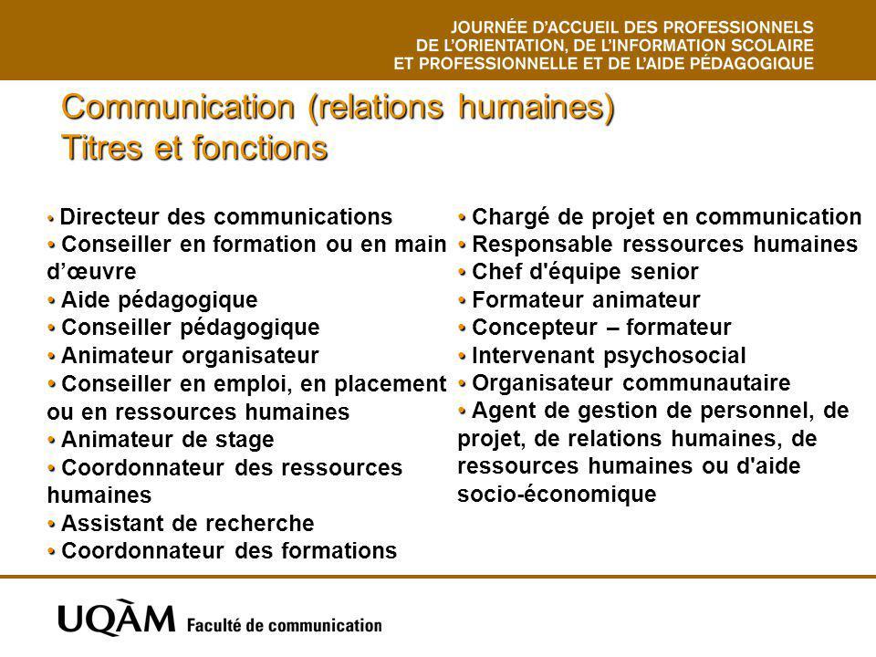 Communication (relations humaines) Titres et fonctions Directeur des communications Conseiller en formation ou en main dœuvre Aide pédagogique Conseil