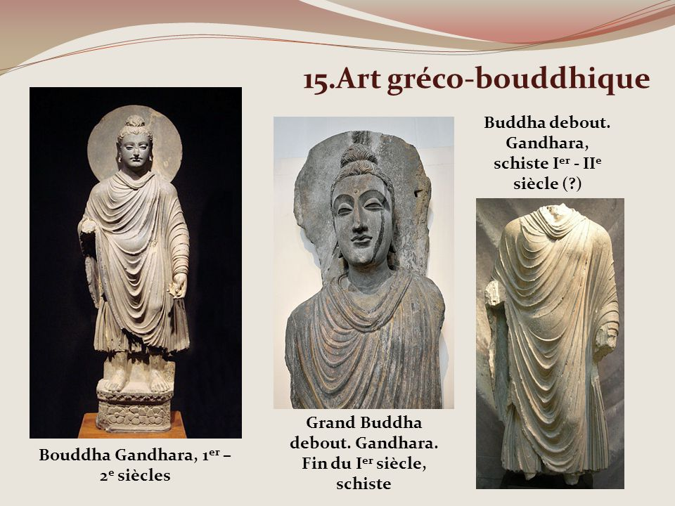 15.Art gréco-bouddhique Bouddha Gandhara, 1 er – 2 e siècles Grand Buddha debout. Gandhara. Fin du I er siècle, schiste Buddha debout. Gandhara, schis