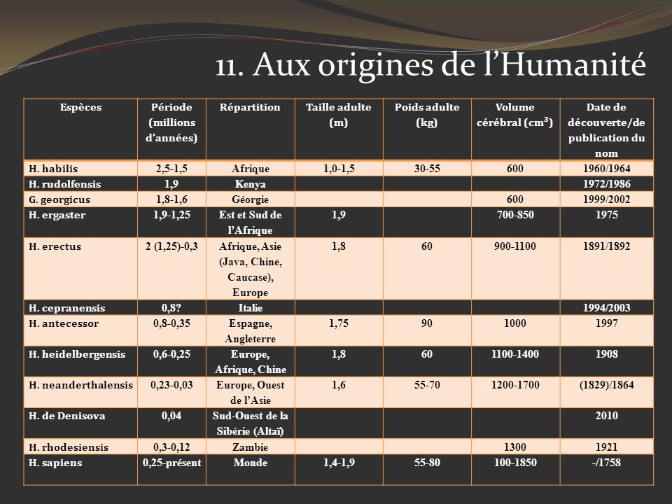 Espèces Période (millions dannées) Répartition Taille adulte (m) Poids adulte (kg) Volume cérébral (cm³) Date de découverte/de publication du nom H. h