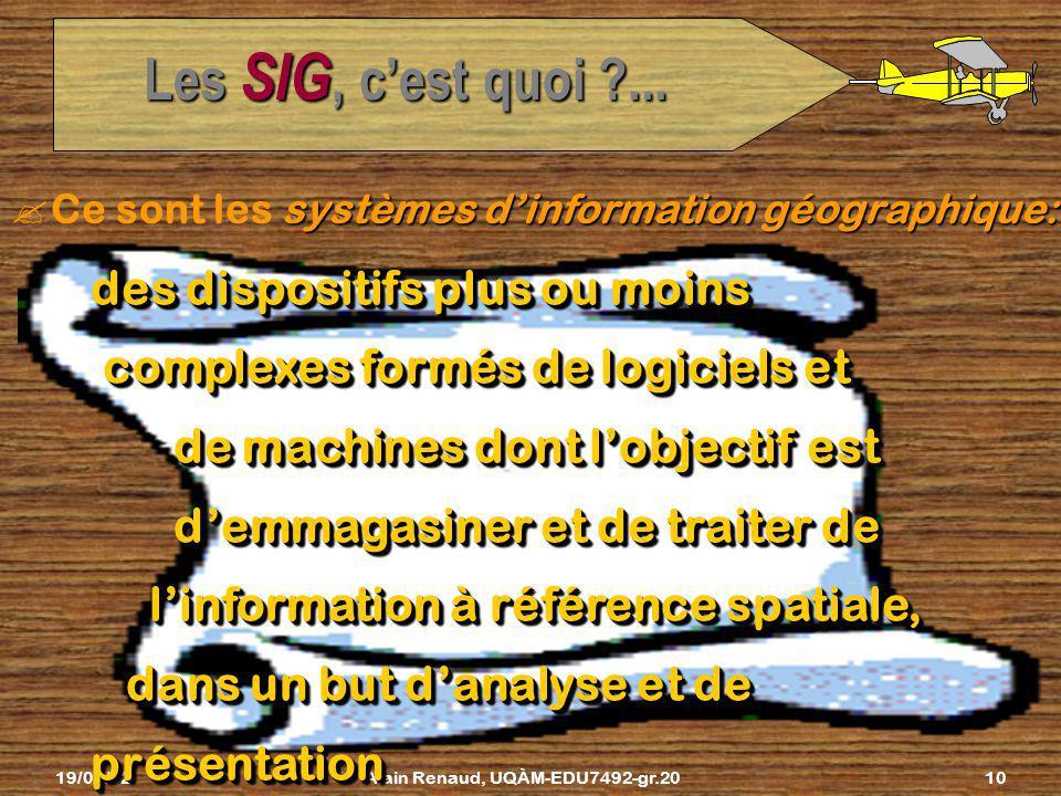 19/02/02Alain Renaud, UQÀM-EDU7492-gr.209 Les SIG, cest quoi ?... Puis on analyse toutes ces données