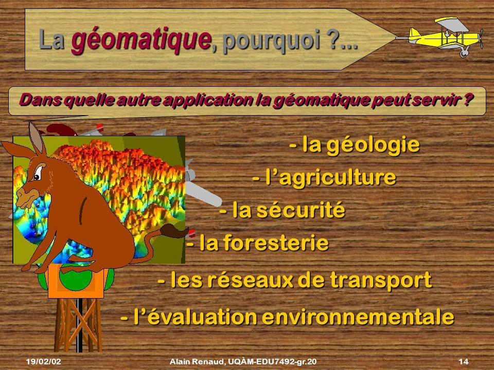 19/02/02Alain Renaud, UQÀM-EDU7492-gr.2013 La géomatique, pourquoi ?... géomatique Bravo! On a obtenu notre plan de cadastre grâce à la géomatique...