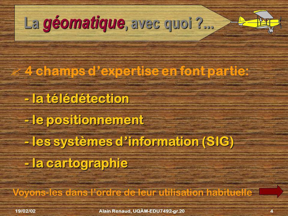 19/02/02Alain Renaud, UQÀM-EDU7492-gr.203 La géomatique, avec quoi ?... géomatique ?Cest alors quon fait appel aux ressources de la géomatique : une s