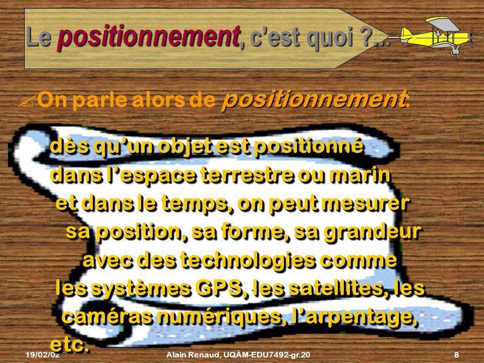 19/02/02Alain Renaud, UQÀM-EDU7492-gr.207 Puis on prend des mesures sur le terrain Le positionnement, cest quoi ?... GPS Comment ?