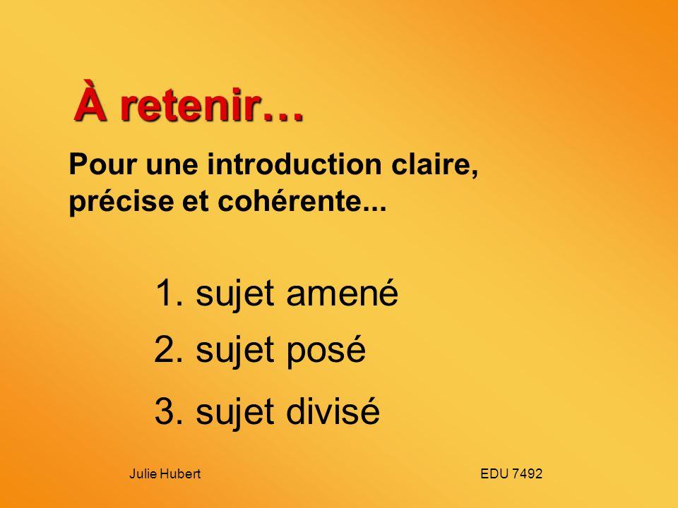 Julie Hubert EDU 7492 À retenir… Pour une introduction claire, précise et cohérente...