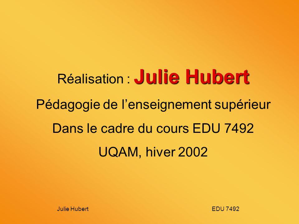 Julie Hubert EDU 7492 Julie Hubert Réalisation : Julie Hubert Pédagogie de lenseignement supérieur Dans le cadre du cours EDU 7492 UQAM, hiver 2002