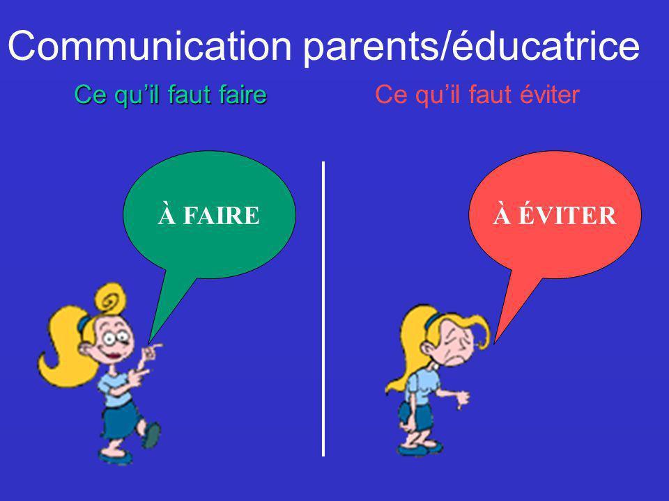 À ÉVITER Communication parents/éducatrice Ce quil faut faire Ce quil faut éviter À FAIRE