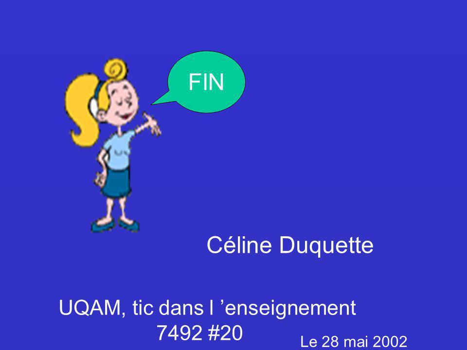 FIN Céline Duquette UQAM, tic dans l enseignement 7492 #20 Le 28 mai 2002