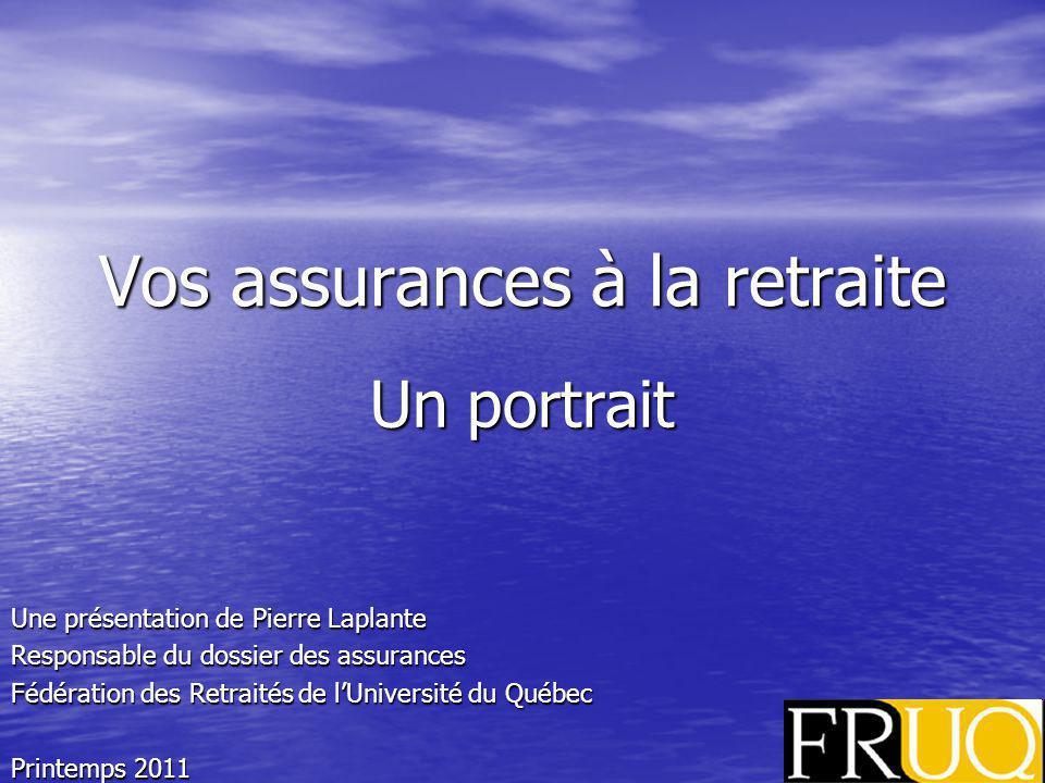 Vos assurances à la retraite Un portrait Une présentation de Pierre Laplante Responsable du dossier des assurances Fédération des Retraités de lUniversité du Québec Printemps 2011