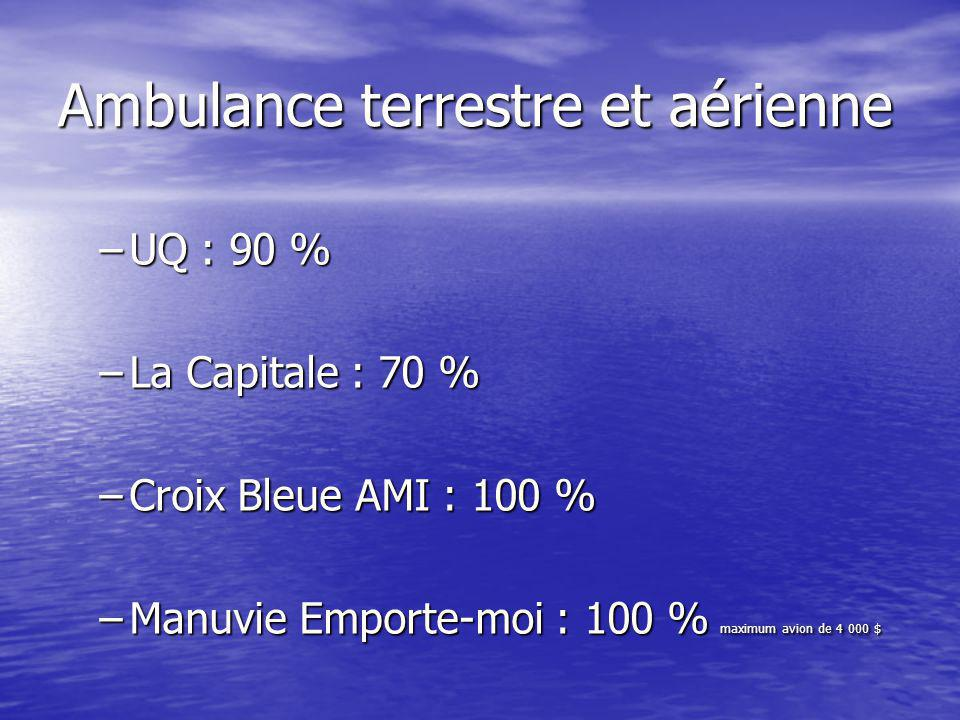 Ambulance terrestre et aérienne –UQ : 90 % –La Capitale : 70 % –Croix Bleue AMI : 100 % –Manuvie Emporte-moi : 100 % maximum avion de 4 000 $