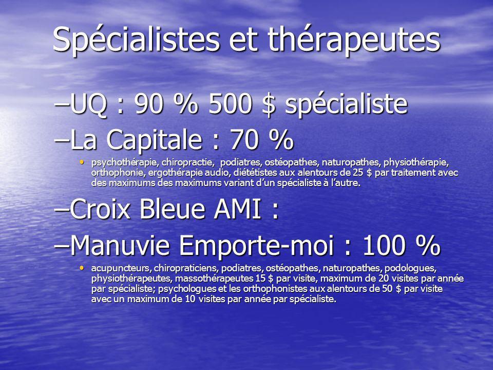 Spécialistes et thérapeutes –UQ : 90 % 500 $ spécialiste –La Capitale : 70 % psychothérapie, chiropractie, podiatres, ostéopathes, naturopathes, physiothérapie, orthophonie, ergothérapie audio, diététistes aux alentours de 25 $ par traitement avec des maximums des maximums variant dun spécialiste à lautre.