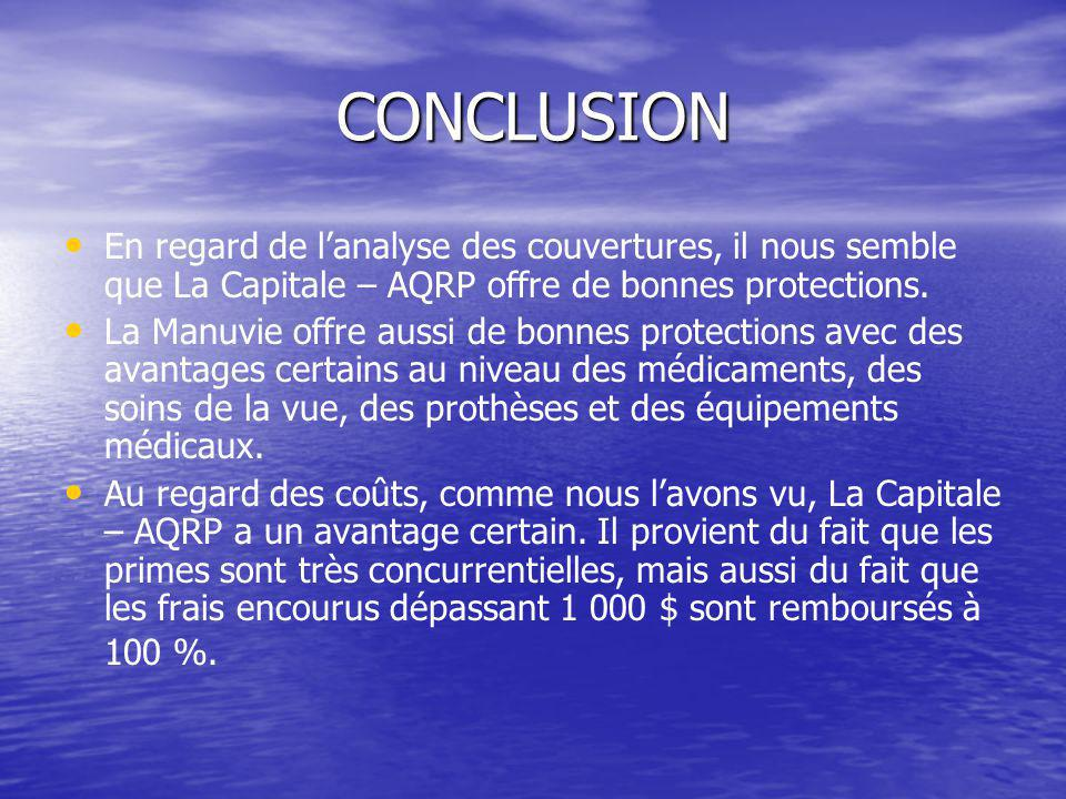 CONCLUSION En regard de lanalyse des couvertures, il nous semble que La Capitale – AQRP offre de bonnes protections.