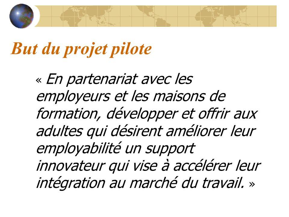 But du projet pilote « En partenariat avec les employeurs et les maisons de formation, développer et offrir aux adultes qui désirent améliorer leur em