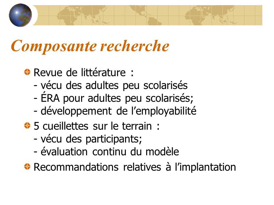 Composante recherche Revue de littérature : - vécu des adultes peu scolarisés - ÉRA pour adultes peu scolarisés; - développement de lemployabilité 5 c