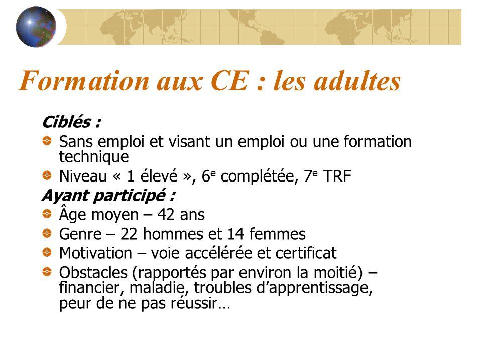 Formation aux CE : les adultes Ciblés : Sans emploi et visant un emploi ou une formation technique Niveau « 1 élevé », 6 e complétée, 7 e TRF Ayant pa