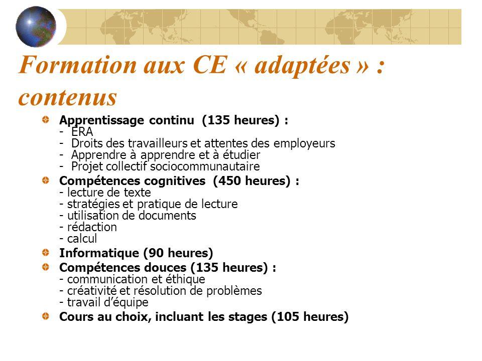 Formation aux CE « adaptées » : contenus Apprentissage continu (135 heures) : - ÉRA - Droits des travailleurs et attentes des employeurs - Apprendre à
