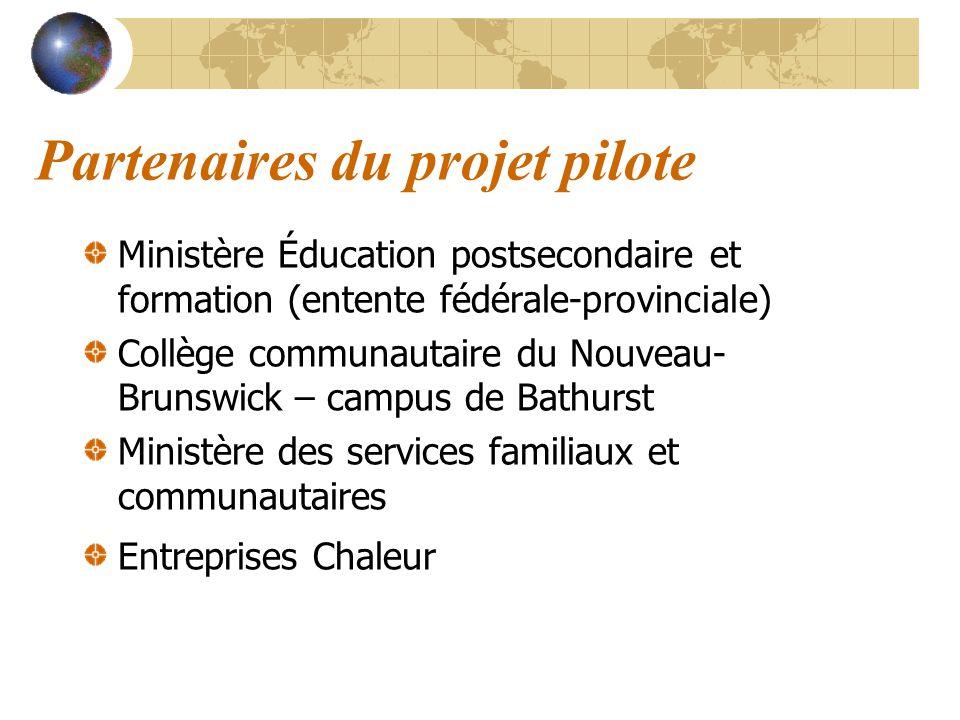 Partenaires du projet pilote Ministère Éducation postsecondaire et formation (entente fédérale-provinciale) Collège communautaire du Nouveau- Brunswic