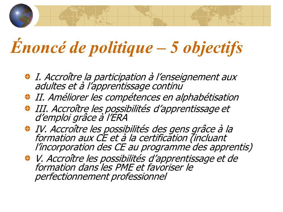 Énoncé de politique – 5 objectifs I. Accroître la participation à lenseignement aux adultes et à lapprentissage continu II. Améliorer les compétences