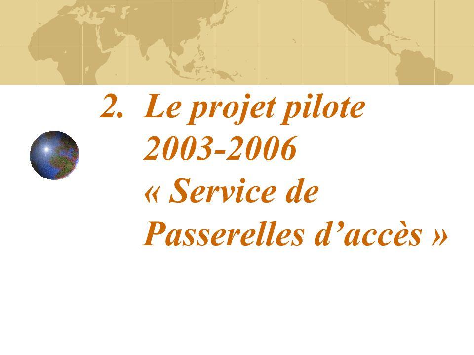 2. Le projet pilote 2003-2006 « Service de Passerelles daccès »