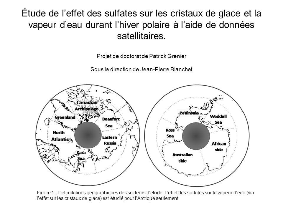 Étude de leffet des sulfates sur les cristaux de glace et la vapeur deau durant lhiver polaire à laide de données satellitaires.