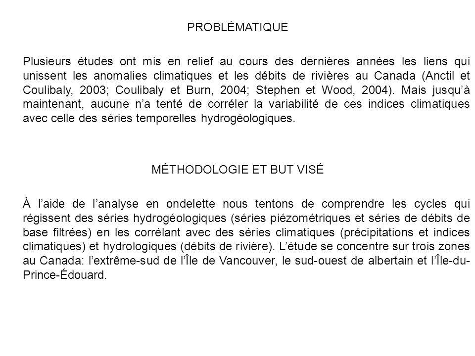 PROBLÉMATIQUE Plusieurs études ont mis en relief au cours des dernières années les liens qui unissent les anomalies climatiques et les débits de rivières au Canada (Anctil et Coulibaly, 2003; Coulibaly et Burn, 2004; Stephen et Wood, 2004).