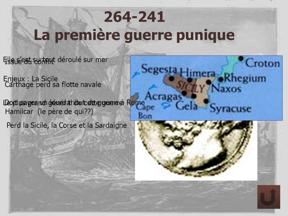 264-241 La première guerre punique Elle sest surtout déroulé sur mer Le plus grand général de cette guerre Hamilcar (le père de qui??) Enjeux : La Sic