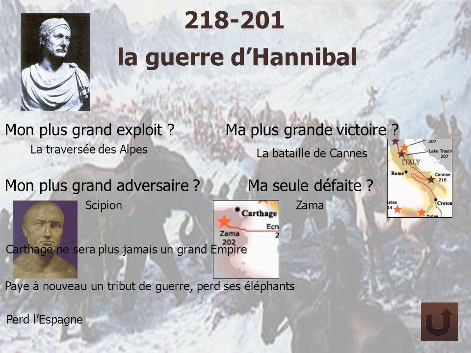 la guerre dHannibal 218-201 Mon plus grand exploit ? La traversée des Alpes Ma plus grande victoire ? La bataille de Cannes Mon plus grand adversaire