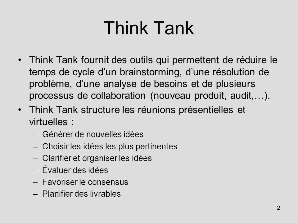 2 Think Tank Think Tank fournit des outils qui permettent de réduire le temps de cycle dun brainstorming, dune résolution de problème, dune analyse de besoins et de plusieurs processus de collaboration (nouveau produit, audit,…).