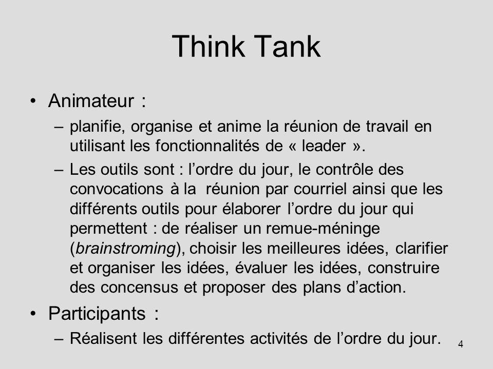 4 Think Tank Animateur : –planifie, organise et anime la réunion de travail en utilisant les fonctionnalités de « leader ».