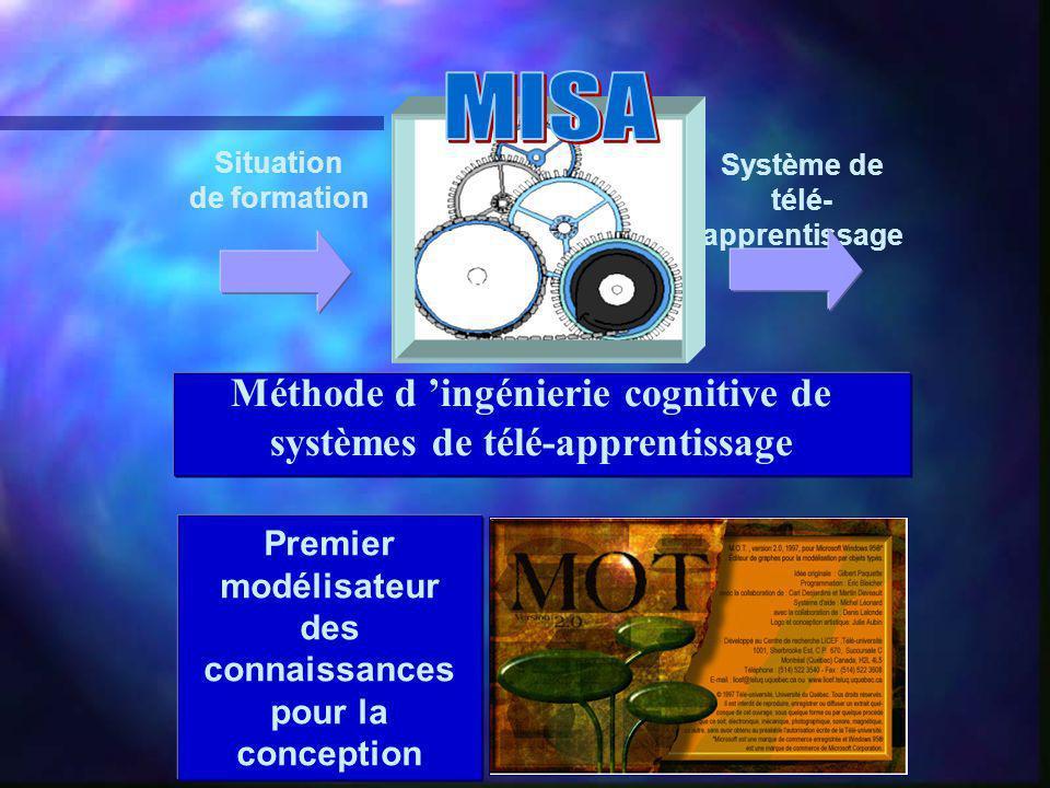 Premier modélisateur des connaissances pour la conception Situation de formation Système de télé- apprentissage Méthode d ingénierie cognitive de systèmes de télé-apprentissage
