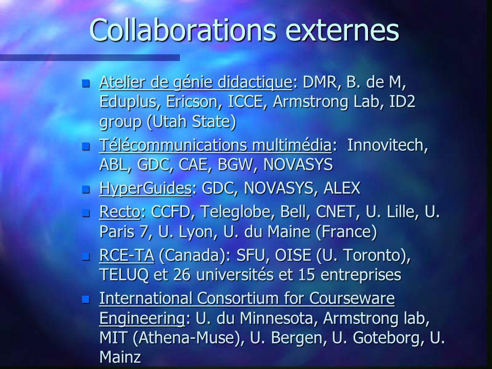 Validations F DMR Group for an R&D project F Télé-université F Tecsult-Eduplus F DMR for a project at Ericsson F Bank of Montreal, the Learning Institute F Teledac for a project at Bell Canada F US Air Force: Armstrong Lab F SIDOCI - Training for a health plan software F Forces armées canadiennes