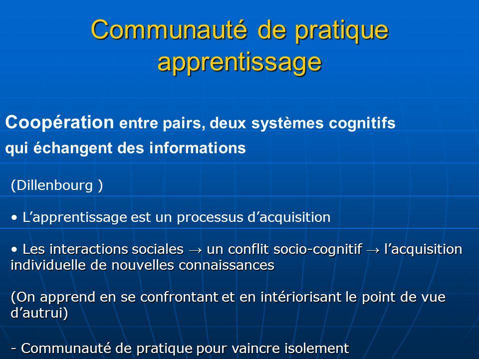Communauté de pratique apprentissage Coopération entre pairs, deux systèmes cognitifs qui échangent des informations (Dillenbourg ) Lapprentissage est
