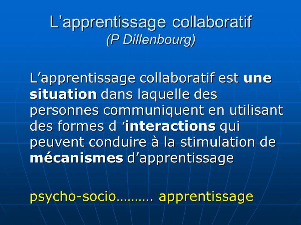 Lapprentissage collaboratif (P Dillenbourg) Lapprentissage collaboratif est une situation dans laquelle des personnes communiquent en utilisant des fo