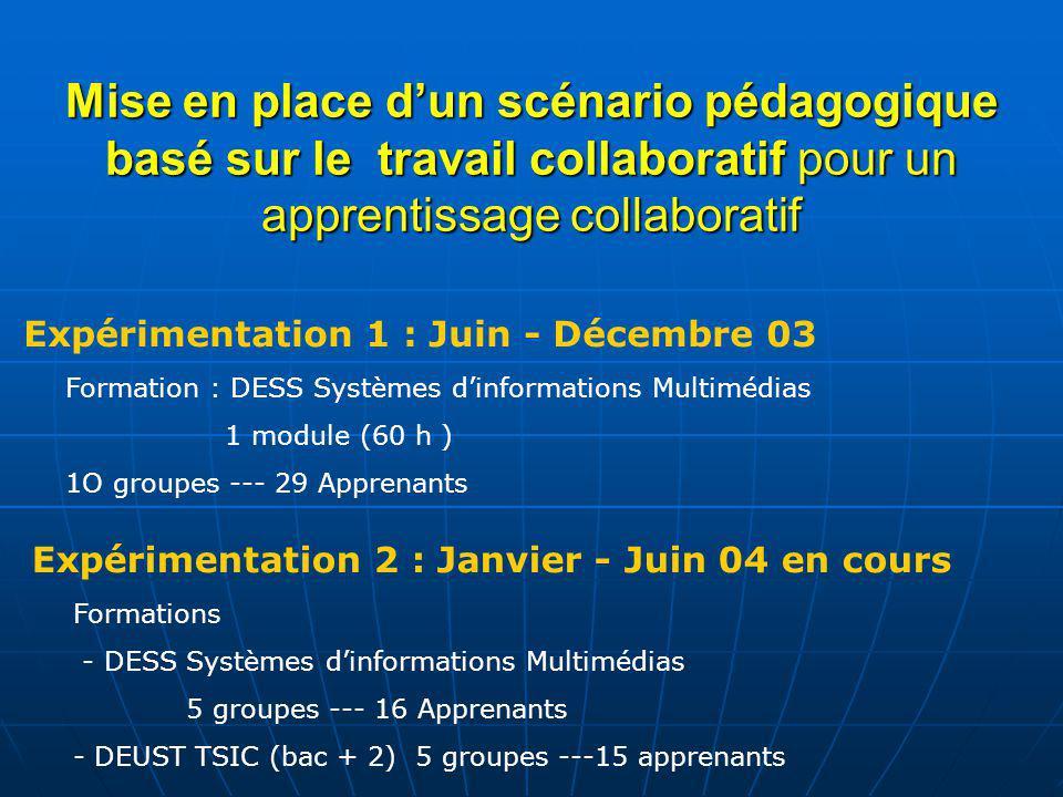 Mise en place dun scénario pédagogique basé sur le travail collaboratif pour un apprentissage collaboratif Formation : DESS Systèmes dinformations Mul