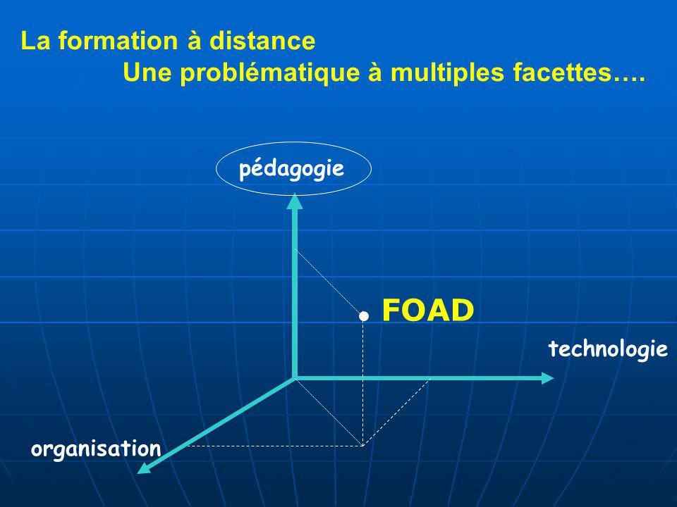 La formation à distance Une problématique à multiples facettes….. pédagogie organisation FOAD technologie