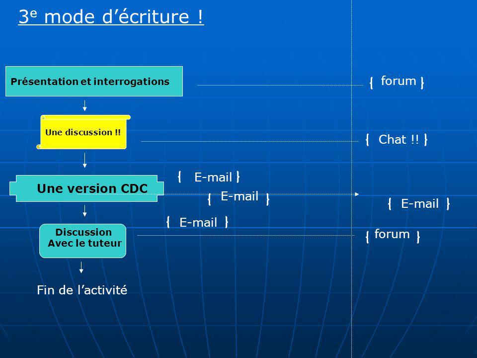 Présentation et interrogations Fin de lactivité Une version CDC Une discussion !! Discussion Avec le tuteur forum Chat !! forum E-mail 3 e mode décrit
