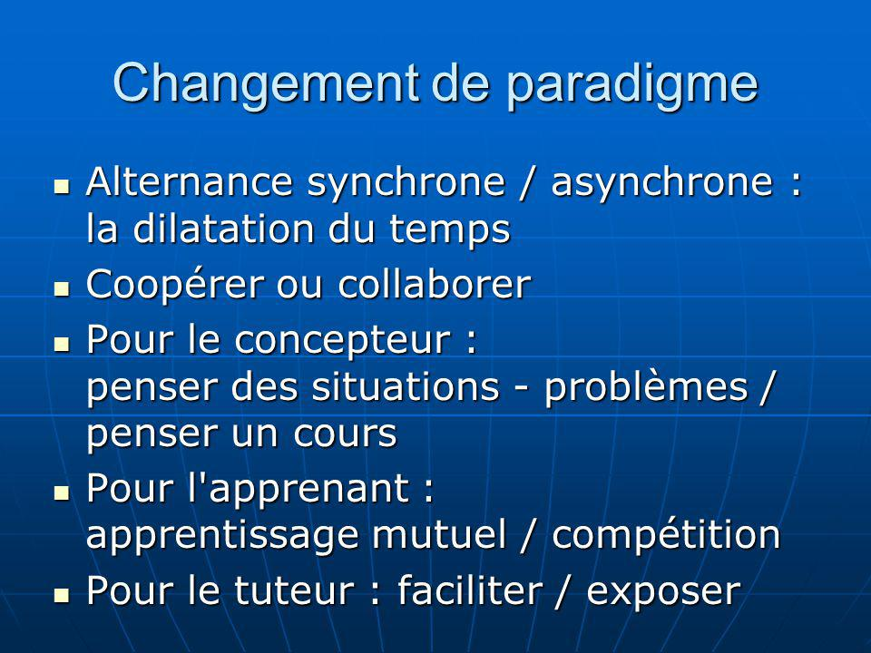 Changement de paradigme Alternance synchrone / asynchrone : la dilatation du temps Alternance synchrone / asynchrone : la dilatation du temps Coopérer