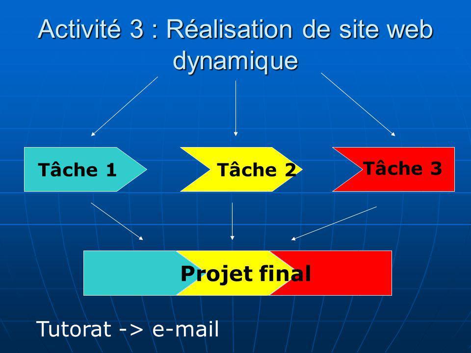 Activité 3 : Réalisation de site web dynamique Tâche 1 Tâche 2 Tâche 3 Projet final Tutorat -> e-mail