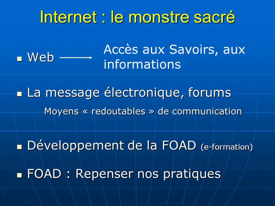 Internet : le monstre sacré Web Web La message électronique, forums La message électronique, forums Moyens « redoutables » de communication Développem