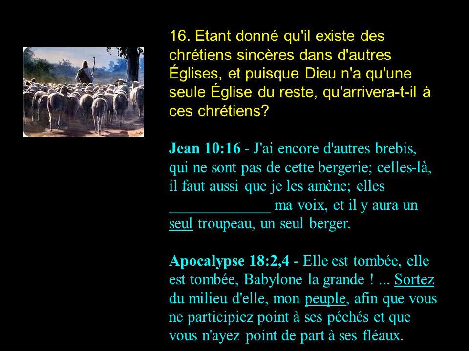16. Etant donné qu'il existe des chrétiens sincères dans d'autres Églises, et puisque Dieu n'a qu'une seule Église du reste, qu'arrivera-t-il à ces ch